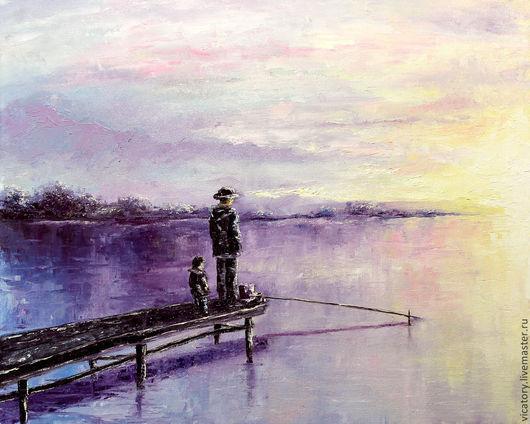 """Пейзаж ручной работы. Ярмарка Мастеров - ручная работа. Купить """"3 минуты до.."""", рыбаки на озере встречают рассвет, картина масло. Handmade."""