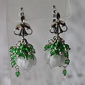 Украшения handmade. Livemaster - original item Earrings with beads lampwork Silver Lily of the valley. Handmade.