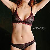 "Одежда handmade. Livemaster - original item Set of lace lingerie ""Plum"" black with red color. Handmade."