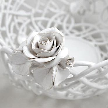 Посуда ручной работы. Ярмарка Мастеров - ручная работа Фруктовница Белые розы. Handmade.