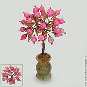 Цветы и флористика handmade. Livemaster - original item Love tree beads and pink agate in a vase of onyx. Handmade.