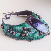 Украшения handmade. Livemaster - original item Necklace LAUREL WREATH fluorite, beads, pearls, embroidery floss, leather. Handmade.