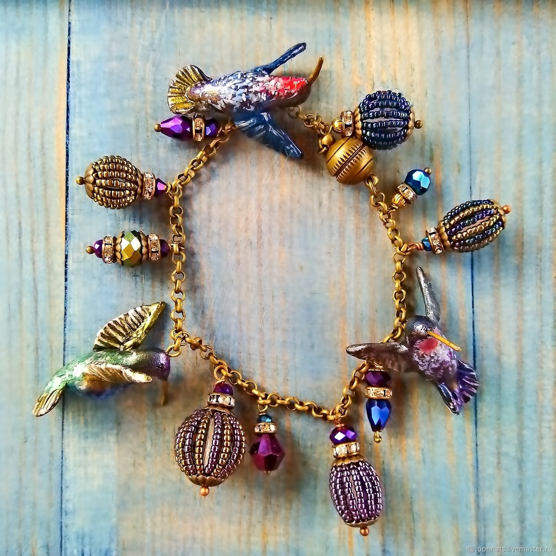 Bracelet with charm birds 'Rainbow hummingbirds', Bead bracelet, Nikolaev,  Фото №1