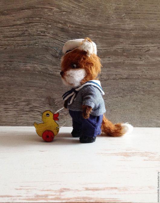 Мишки Тедди ручной работы. Ярмарка Мастеров - ручная работа. Купить Лисёнок в бескозырке. Handmade. Рыжий, матроска, миник, хлопок