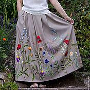 Одежда ручной работы. Ярмарка Мастеров - ручная работа Длинная юбка в пол с вышивкой. Handmade.