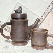 Посуда ручной работы. Ярмарка Мастеров - ручная работа Чайник и чашка Крыши старого города. Handmade.