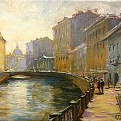 Картины и панно ручной работы. Ярмарка Мастеров - ручная работа Каналы и мосты Санкт-Петербурга маленькая картина акрил. Handmade.