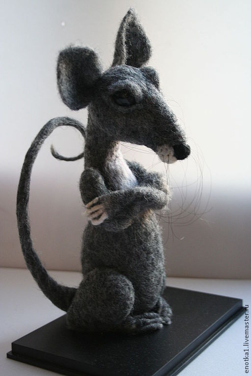 Игрушки животные, ручной работы. Ярмарка Мастеров - ручная работа. Купить Крыс. Handmade. Серый, валяная игрушка