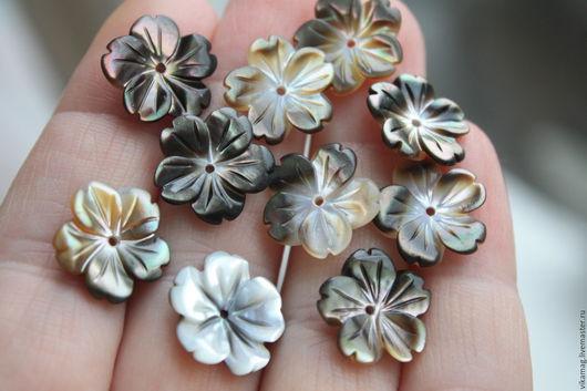Для украшений ручной работы. Ярмарка Мастеров - ручная работа. Купить Перламутр, цветочек,  15 мм ОСТ 1 ШТ. Handmade.