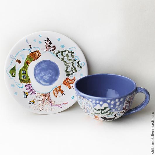 """Сервизы, чайные пары ручной работы. Ярмарка Мастеров - ручная работа. Купить Чайная пара """"Зима в деревне"""". Handmade. Голубой"""