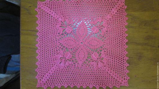 Текстиль, ковры ручной работы. Ярмарка Мастеров - ручная работа. Купить салфетка вязанная крючком. Handmade. Коралловый, небольшая салфетка