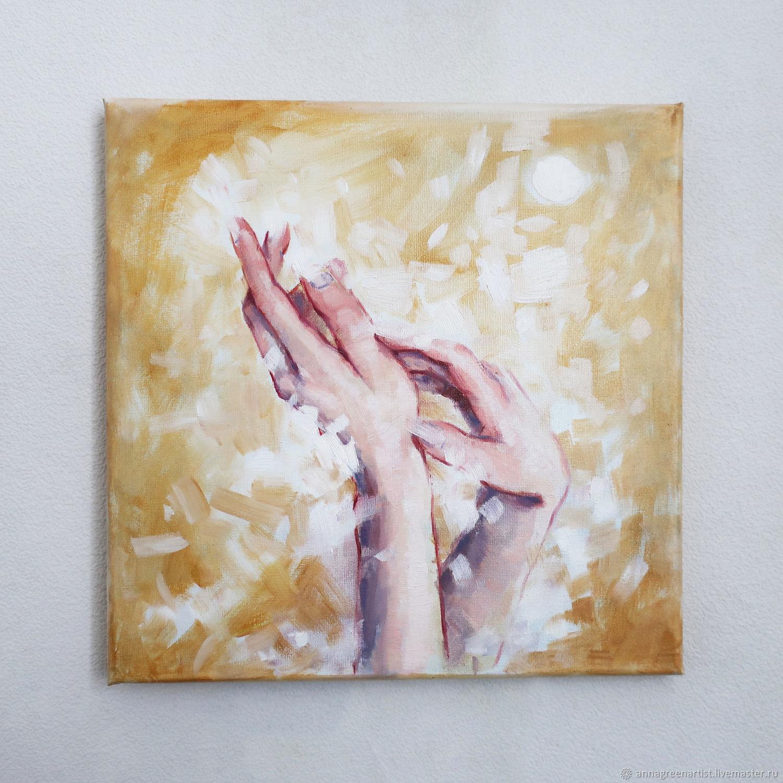 Животные ручной работы. Ярмарка Мастеров - ручная работа. Купить Картина маслом Прикосновение. Handmade. Бежевый, свет, охра
