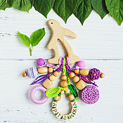 Одежда handmade. Livemaster - original item Personalized teething toy Bunny with pendants purple purple light green. Handmade.