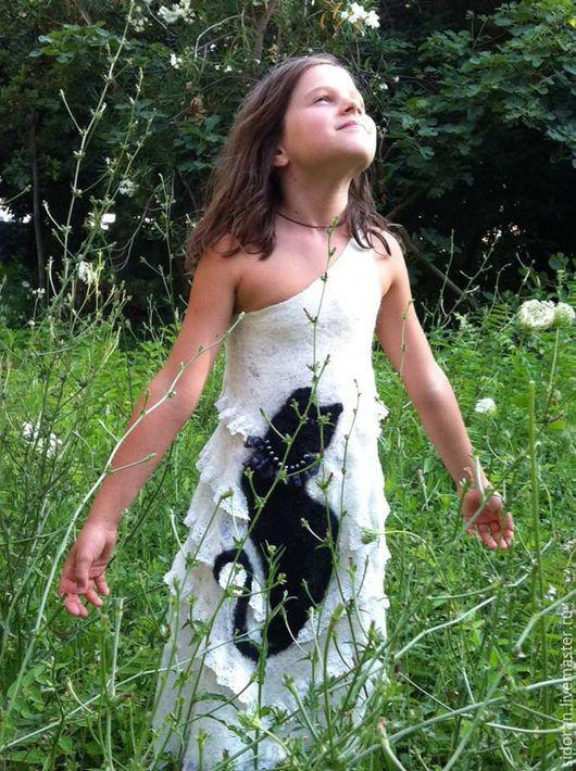 """Для подростков, ручной работы. Ярмарка Мастеров - ручная работа. Купить Платье """" Кошкин сон"""". Handmade. Белый, однотонный"""