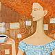 Люди, ручной работы. Утренний кофе. Магазин волшебных картин. Интернет-магазин Ярмарка Мастеров. Бирюзовый, женщина, платье, Живопись