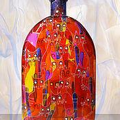 Посуда handmade. Livemaster - original item Flask bottle Cats Spring, stained glass painting. Handmade.