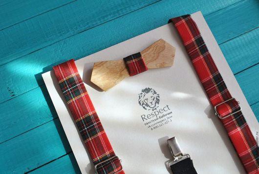 Галстуки, бабочки ручной работы. Ярмарка Мастеров - ручная работа. Купить Деревянная бабочка галстук Шотландка из дуба + подтяжки мужские. Handmade.