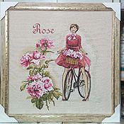 Картины и панно ручной работы. Ярмарка Мастеров - ручная работа Картина гобелен Леди Роза 55х55 см в рамке. Handmade.