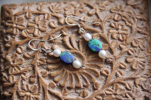 Vintage Via. Винтажные серьги `Морской бриз`, азурмалахит, жемчуг, серебро