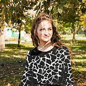 Одежда handmade. Livemaster - original item Novelty - Knit tunic with shawl collar suede - black-white. Handmade.