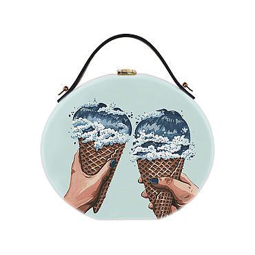 Bags and accessories handmade. Livemaster - original item Women`s round bag made of wood with the painting