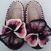 Обувь ручной работы. Ярмарка Мастеров - ручная работа валяные тапочки Анютины глазки. Handmade.