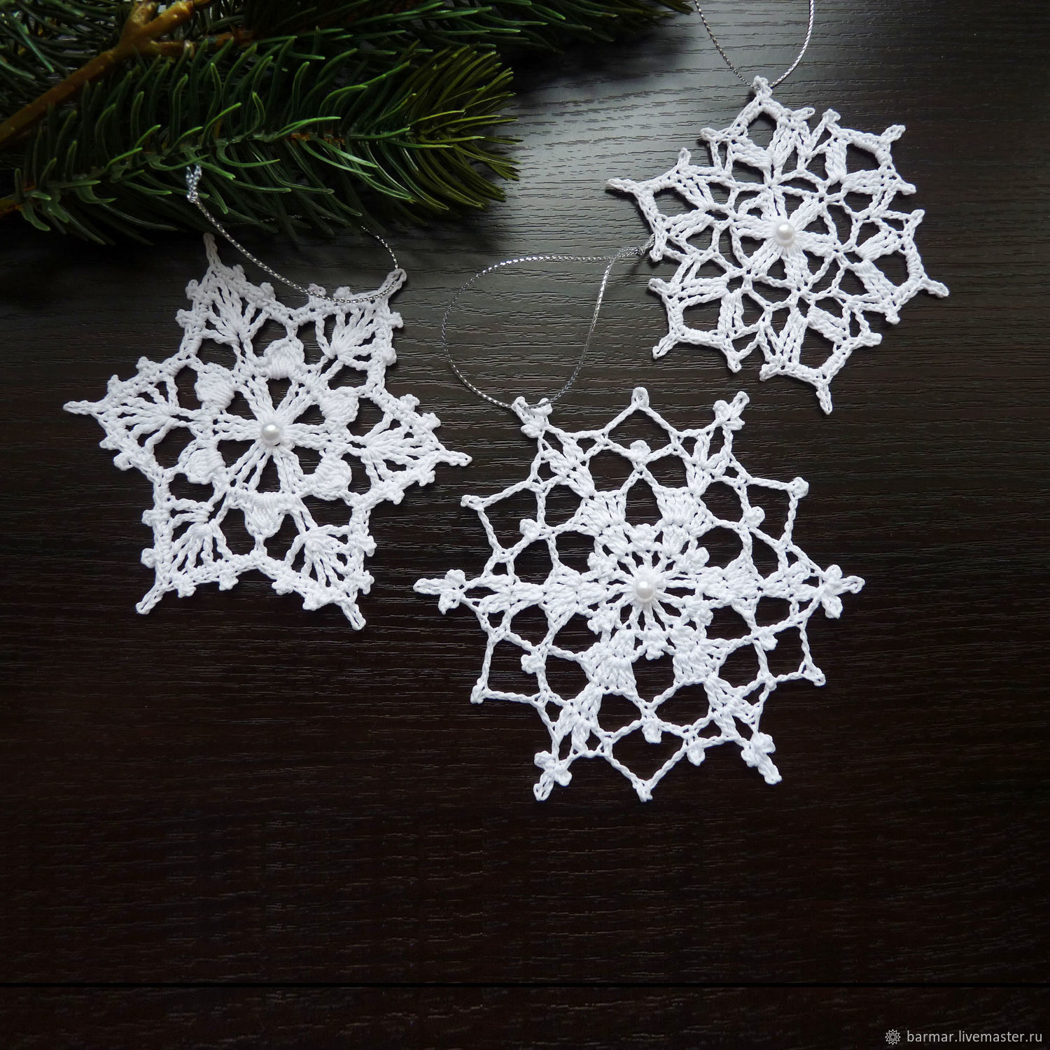 Snowflakes set (3 pieces) white (2B) knitted, Christmas decorations, Moscow,  Фото №1