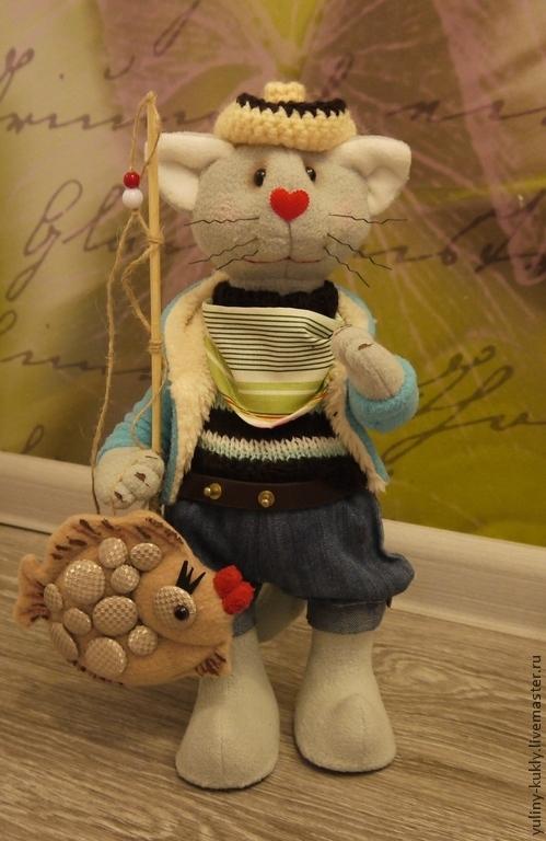 Игрушки животные, ручной работы. Ярмарка Мастеров - ручная работа. Купить Текстильный кот-рыбак ручной работы. Handmade. Серый