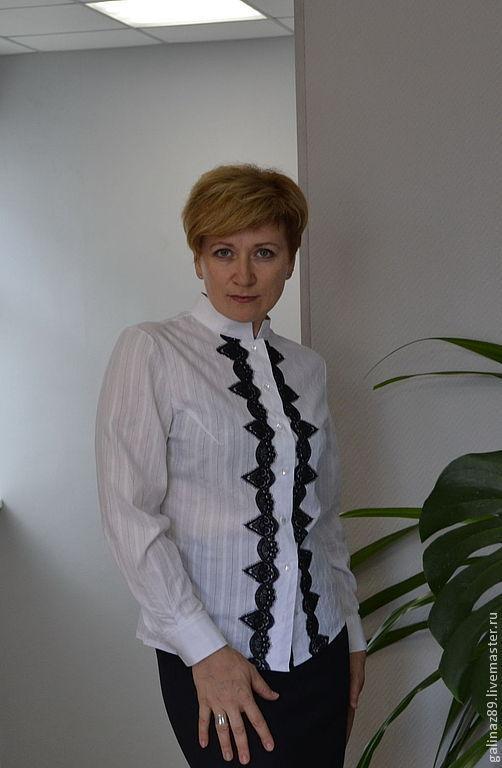 Блузки ручной работы. Ярмарка Мастеров - ручная работа. Купить Блузка Офис-1. Handmade. Белый, хлопок
