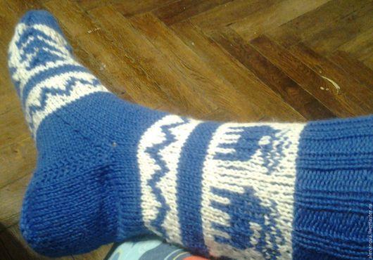 Носки, Чулки ручной работы. Ярмарка Мастеров - ручная работа. Купить Новогодние носки синие. Handmade. Носки, носки теплые
