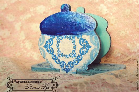 """Кухня ручной работы. Ярмарка Мастеров - ручная работа. Купить Салфетница """"Псевдо-гжель"""". Handmade. Синий, для кухни, Декупажная салфетка"""