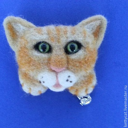 """Броши ручной работы. Ярмарка Мастеров - ручная работа. Купить Брошь на кармашек Кот  """"Рыжий Котейка"""". Handmade. Рыжий, котик"""