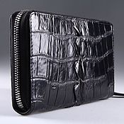 Сумки и аксессуары handmade. Livemaster - original item Cosmetic bag with crocodile leather one zipper IMA0032B22. Handmade.