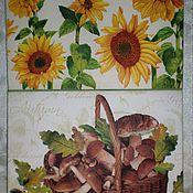 """Для дома и интерьера ручной работы. Ярмарка Мастеров - ручная работа """"Подсолнухи и грибы""""Разделочная доска панно. Handmade."""