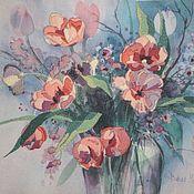 """Картины и панно ручной работы. Ярмарка Мастеров - ручная работа Вышитая картина """"Весенние цветы"""". Handmade."""
