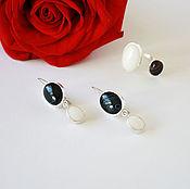 Украшения handmade. Livemaster - original item Earrings and ring with black and white stones. Handmade.