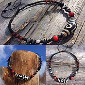 Фен-шуй и эзотерика handmade. Livemaster - original item Necklace with Tibetan Dzi beads - love, longevity. Handmade.