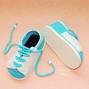 Работы для детей, handmade. Livemaster - original item Booties lace, booties shoes, baby booties knitted. Handmade.