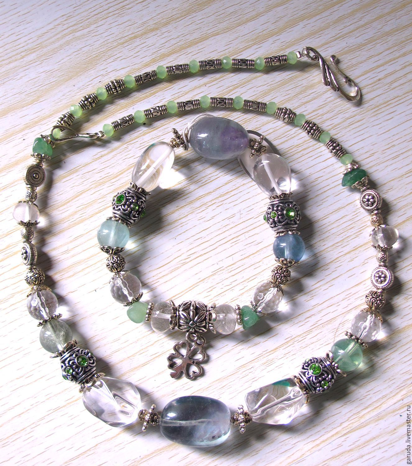 Necklace and bracelet of green fluorite, rock crystal, Necklace, Ubud,  Фото №1