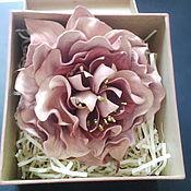 Украшения handmade. Livemaster - original item Leather flowers. Peony rose leather