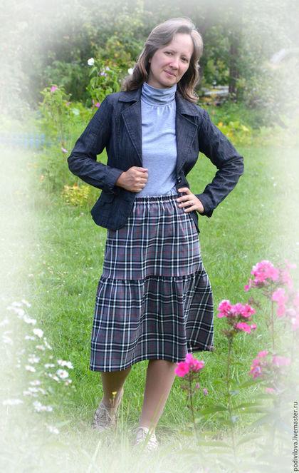 Юбка миди для девочки , девушки,женщины , офисный стиль , офисная юбка, школьная форма,школьная одежда ,клетка шотландка ,юбка ярусная миди.