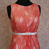 Одежда ручной работы. Ярмарка Мастеров - ручная работа Гипюровое платье кораллового цвета Сильвия. Handmade.