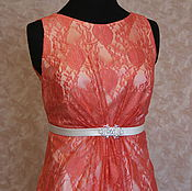 Одежда handmade. Livemaster - original item Guipure dress coral color Sylvia. Handmade.