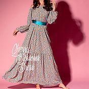 Одежда ручной работы. Ярмарка Мастеров - ручная работа Макси летнее длинное бохо коктейльное платье с поясом, большие размеры. Handmade.