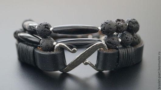 """Украшения для мужчин, ручной работы. Ярмарка Мастеров - ручная работа. Купить Комплект браслетов """"Z 2"""" с фурнитурой Tierracast. Handmade."""