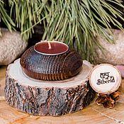Для дома и интерьера handmade. Livemaster - original item Wooden textured candle holder made of pine wood WC24. Handmade.