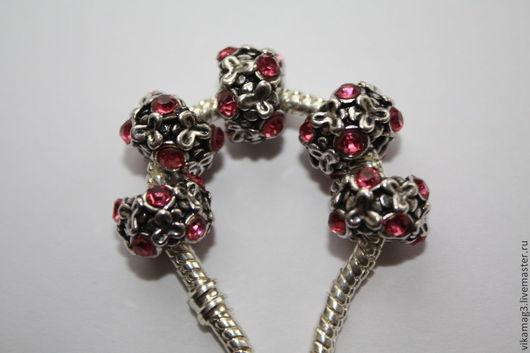 Для украшений ручной работы. Ярмарка Мастеров - ручная работа. Купить Бусины в стиле Пандора с розовыми стразами. Handmade. Пандора
