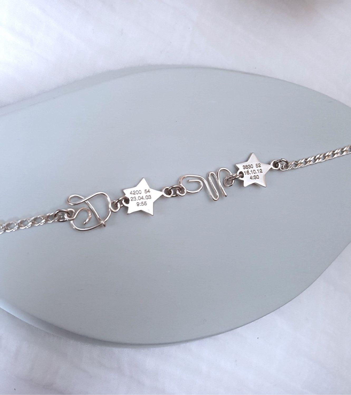 Серебряный браслет со звёздами и буквами: дети-звездочки. Гравировка