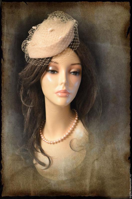 """Шляпы ручной работы. Ярмарка Мастеров - ручная работа. Купить """"Топленое молоко"""". Handmade. Кремовый, шляпка невесты, вуаль"""