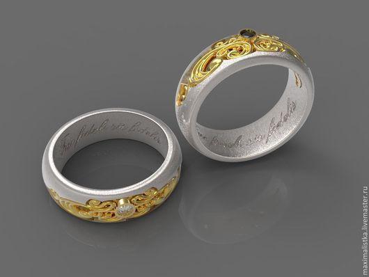 """Кольца ручной работы. Ярмарка Мастеров - ручная работа. Купить Обручальные кольца """"Барокко"""". Handmade. Золотой, белый бриллиант, свадебные"""